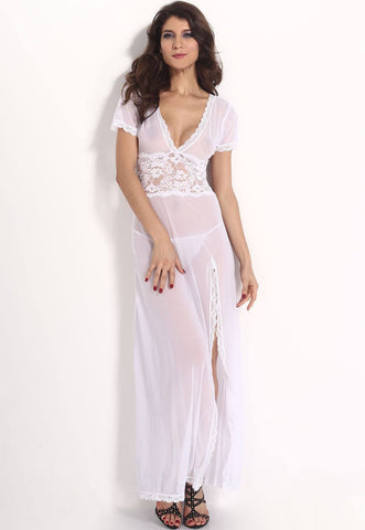 Lingerie - White Mesh And Lace V Neck Lingerie Gown