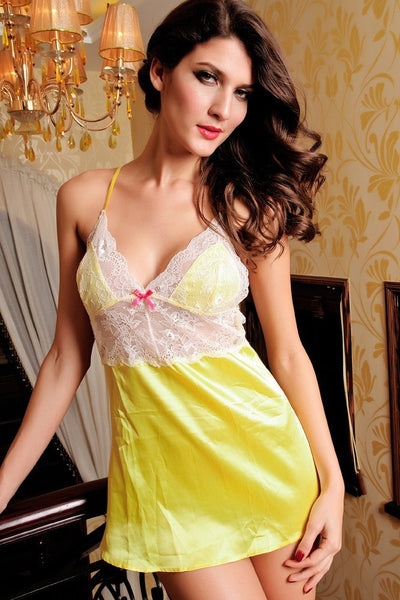 Lingerie - Yellow Satin Babydoll
