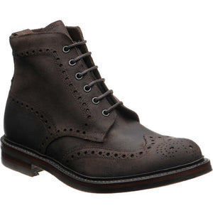 LOAKE Bedale Brogue Suede Boot - Dark Brown Waxy - Ninostyle