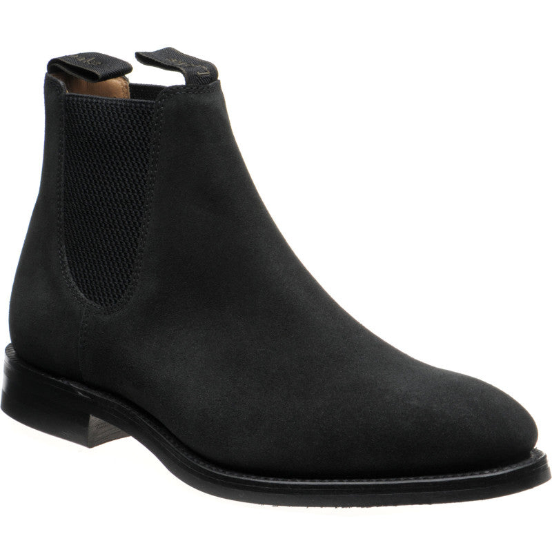 LOAKE Chatsworth Chelsea Suede Boot - Black - Angle View