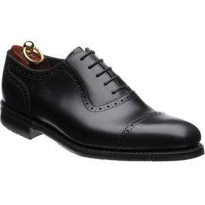 LOAKE - FLEET Premium calf semi brogue Oxford shoe - Black -Angle View