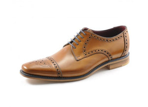 LOAKE Foley Stylish Brogue Derby Shoes - Tan - Side View