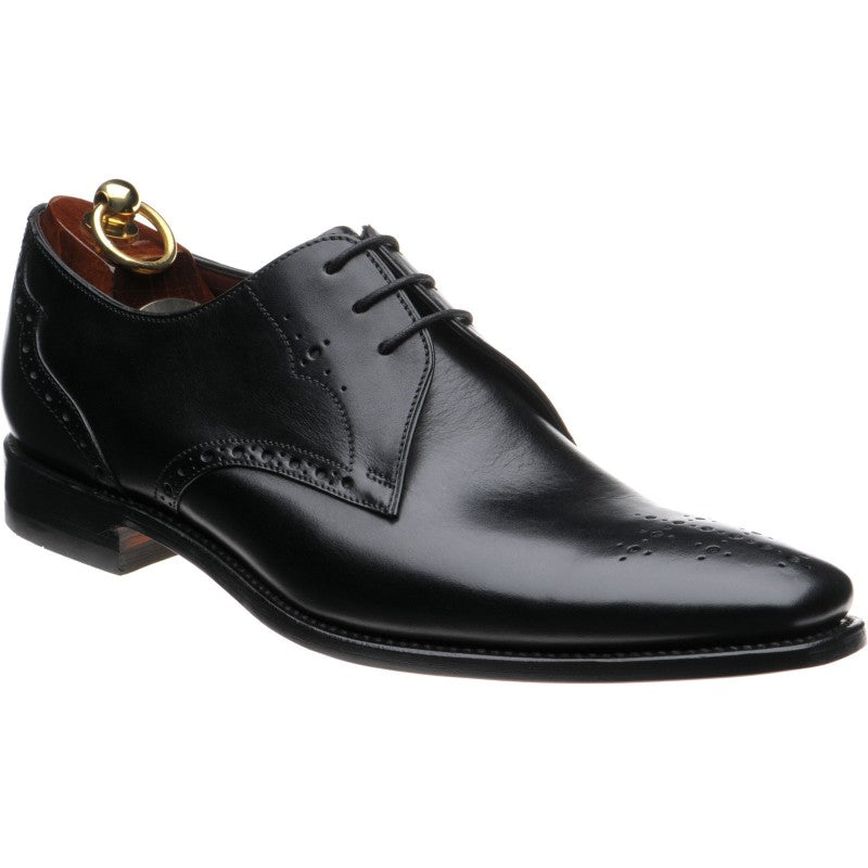 LOAKE Hannibal Derby Brogue shoe - Black Calf - Angle View