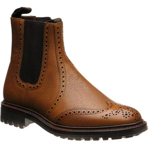LOAKE -Keswick Premium Semi Brogue Calf Grain Boot - Deep Tan - Angle View