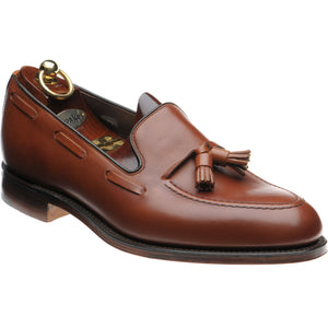 LOAKE - Russell Tasselled Loafers Calf Shoe - Mahogany - Ninostyle