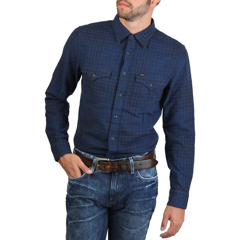 Long Sleeve Shirt - Men - Lee - Western Shirt - Blue