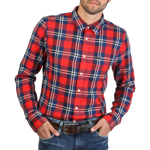 Long Sleeve Shirt - Men - Lee - Western Shirt - Red Checked