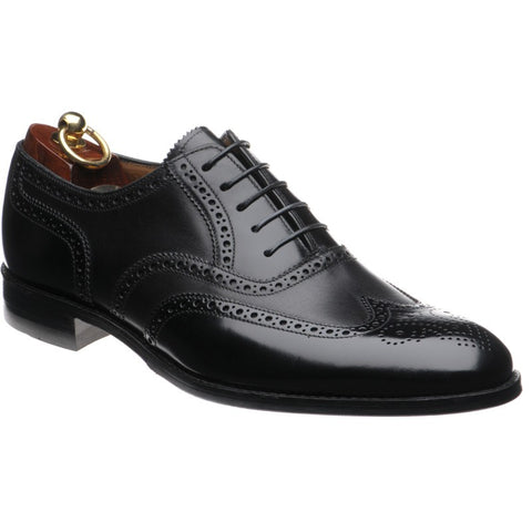 LOAKE Lowick Oxford Brogue shoe - Black Calf and Polished