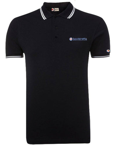 Men's Polo Shirt - Lambretta Tip Polo Shirt For Men - Black