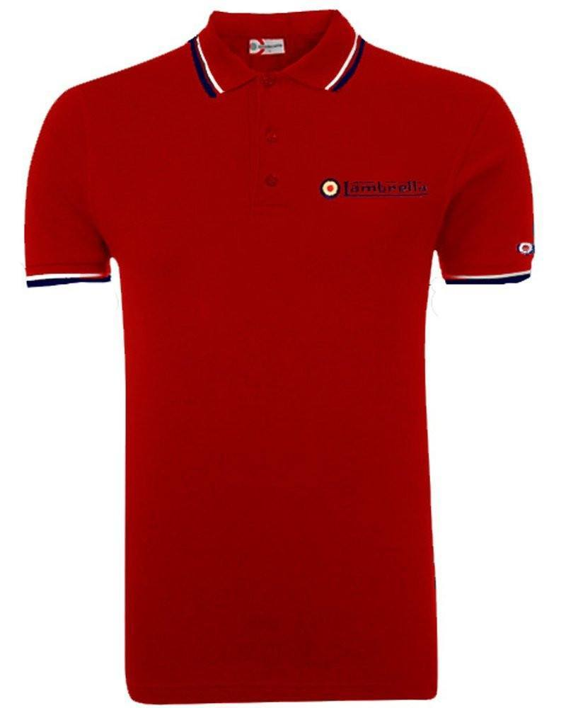 Lambretta Tip Polo Shirt for Men - Red - Ninostyle