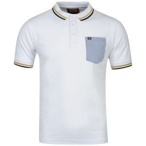 Men's Polo Shirt - OSAKA MENS CHAMBRAY Polo Top - White