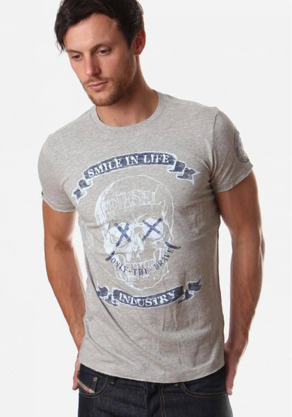 Men's T-Shirts - Diesel T-Epona-RS 'X' Detail Skull T-Shirt  - Grey
