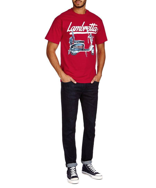 Men's T-Shirts - Lambretta Mens Retro Scooter Print T-Shirt - Deep Red
