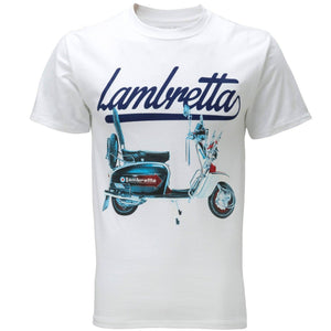 Lambretta Mens Retro Scooter Print T-Shirt - White - Ninostyle