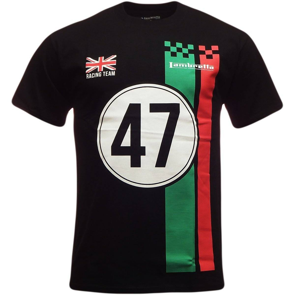 Lambretta Mens T Shirt 'Racing Team' Design - Black - Ninostyle