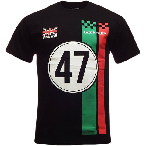 Men's T-Shirts - Lambretta Mens T Shirt 'Racing Team' Design - Black