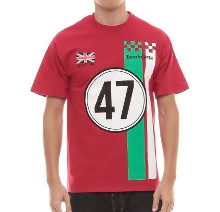 Men's T-Shirts - Lambretta Mens T Shirt 'Racing Team' Design - Deep Red