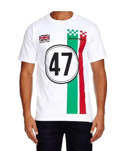 Men's T-Shirts - Lambretta Mens T Shirt 'Racing Team' Design - White