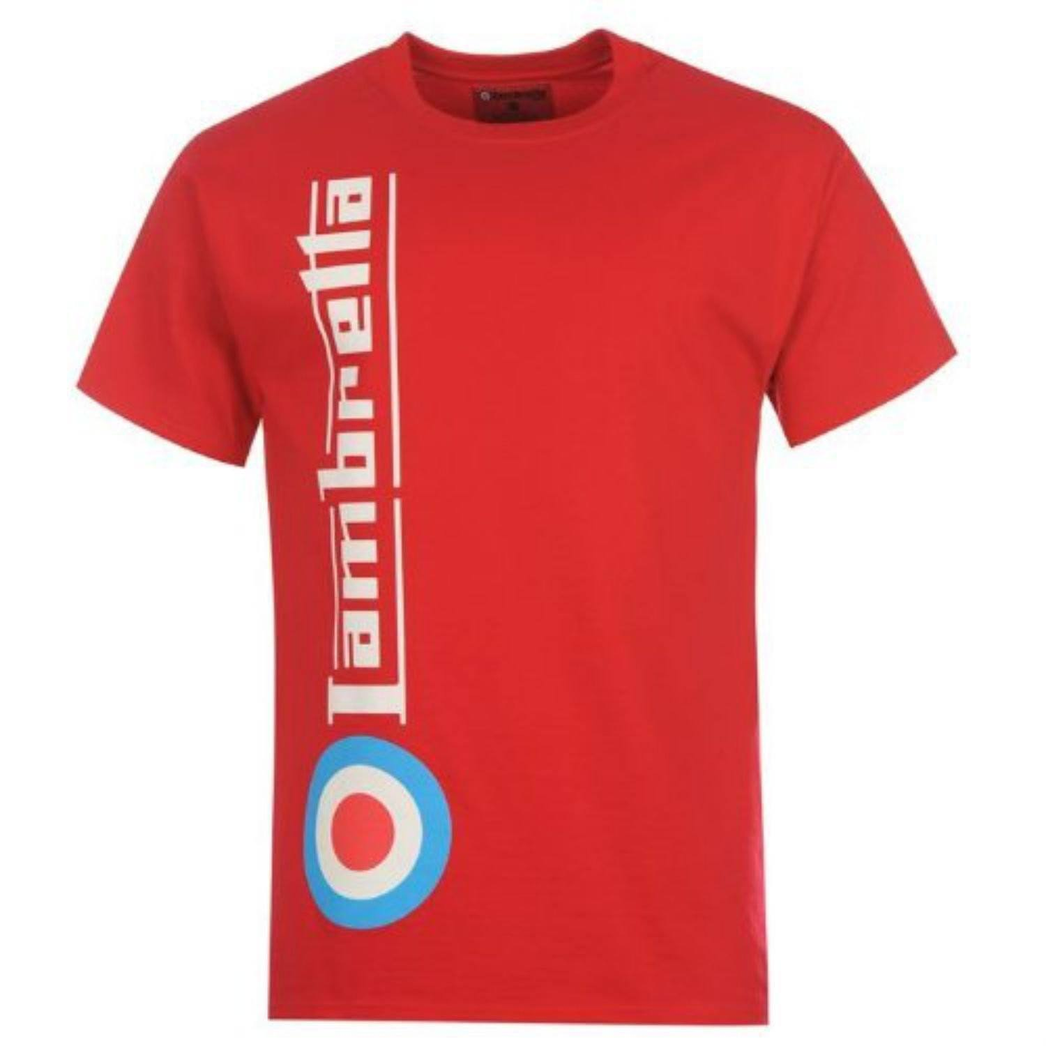 Lambretta Mens T Shirt 'Side Target' Design - Red - Ninostyle