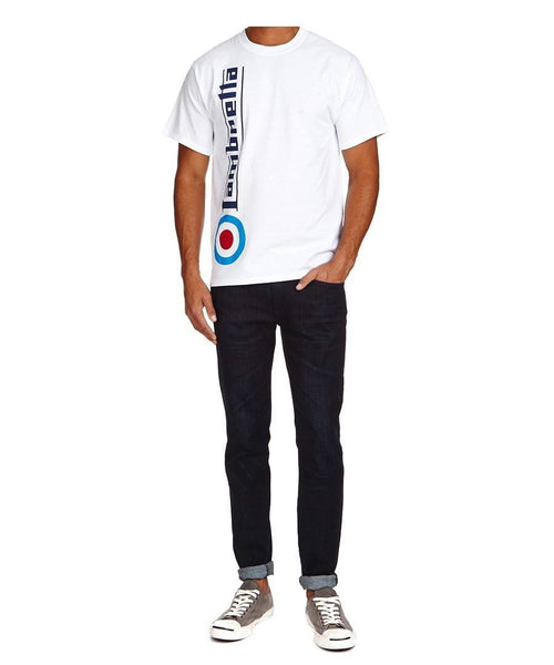Men's T-Shirts - Lambretta Mens T Shirt 'Side Target' Design - White
