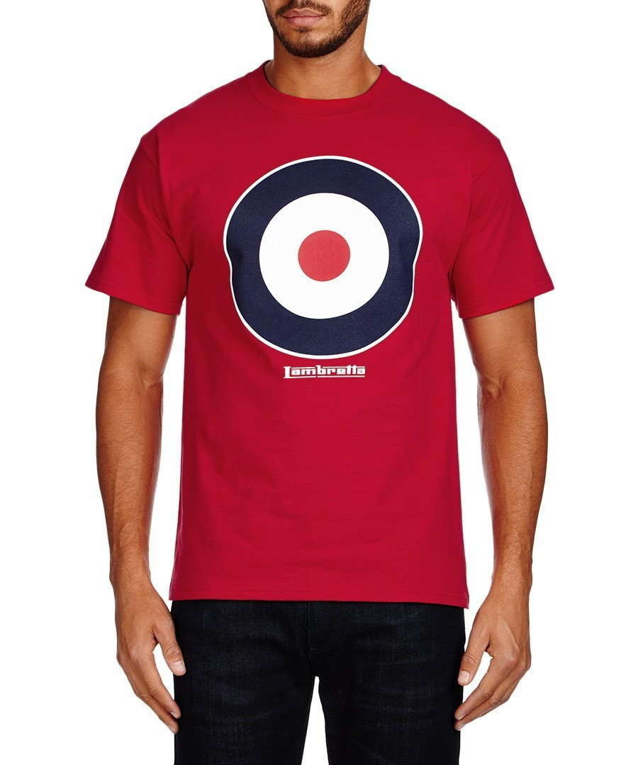 Lambretta Mens T Shirt Target Design - Deep Red - Ninostyle