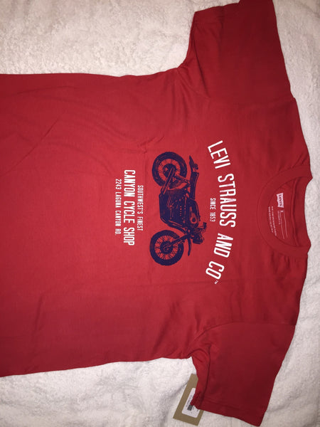 Men's T-Shirts - LEVI Strause  - Short Sleved T-shirt - Red