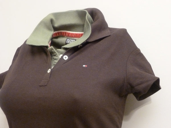 Men's T-Shirts - Tommy Hilfiger Ladies Polo Shir T- Brown (Small)