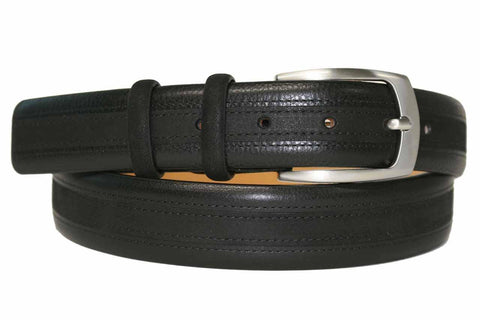 Mens Belt - Aspell Italian - GENUINE COW HIDE BELT - Leather/Nubuck -  Black