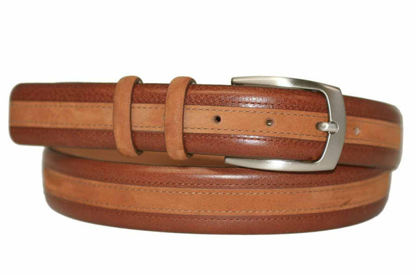 Mens Belt - Aspell Italian - GENUINE COW HIDE BELT - Leather/Nubuck -  Brown
