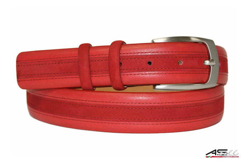 Mens Belt - Aspell Italian - GENUINE COW HIDE BELT - Leather/Nubuck -  Red