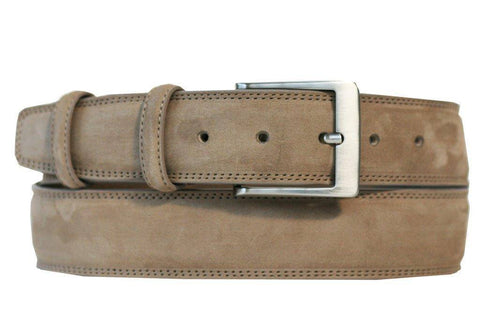 Mens Belt - Aspell Italian - GENUINE COW HIDE BELT - NUBUCK -  Beige