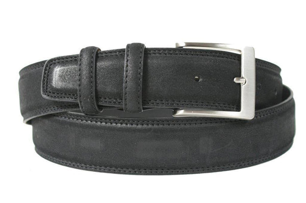 Mens Belt - Aspell Italian - GENUINE COW HIDE BELT - NUBUCK -  Black
