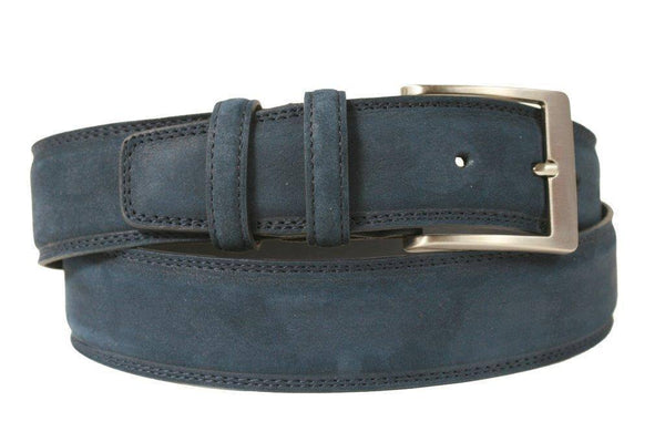 Mens Belt - Aspell Italian - GENUINE COW HIDE BELT - NUBUCK -  Blue