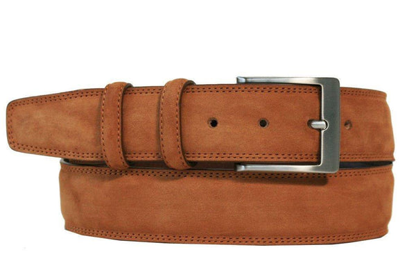 Mens Belt - Aspell Italian - GENUINE COW HIDE BELT - NUBUCK - Tan