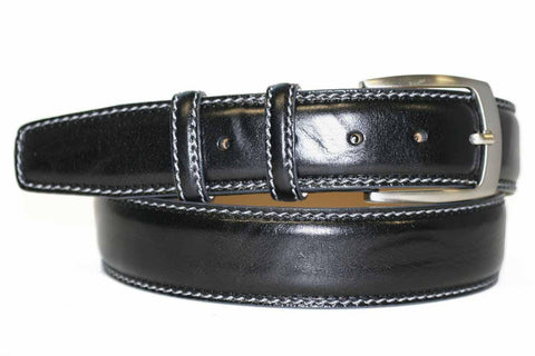 Mens Belt - Aspell Italian - GENUINE COW LEATHER BELT - Black