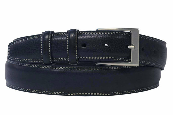 Mens Belt - Aspell Italian - GENUINE LEATHER BELT - BUTTERO MATERIAL - Blue