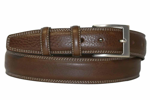 Mens Belt - Aspell Italian - GENUINE LEATHER BELT - BUTTERO MATERIAL - Brown