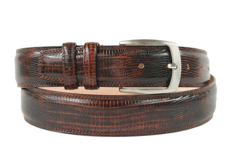 Mens Belt - Aspell Italian - PRINTED LEATHER BELT - LIZARD PRINT -  Moro
