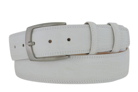 Mens Belt - Aspell Italian - PRINTED LEATHER BELT - LIZARD PRINT -  White