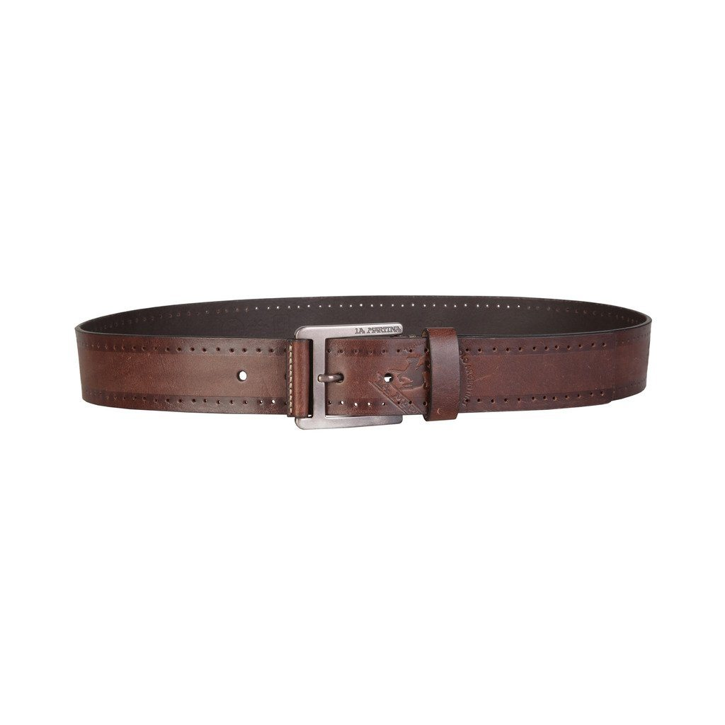 La Martina - GENUINE Calf Leather BELT - 4 cm (Large) Brown - Ninostyle