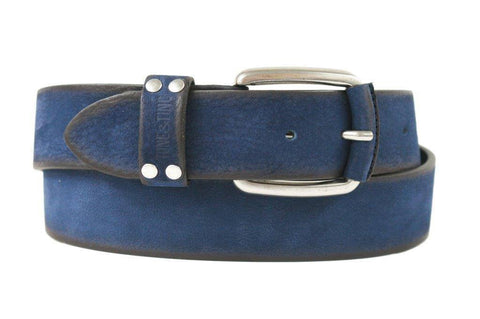 Mens Belt - Tone & Tino Italian - GENUINE COW HIDE BELT - Nubuck -  Blue