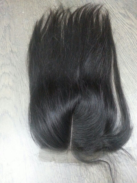 "Natural Hair - Peruvian Straight Closure12"" - 18"""