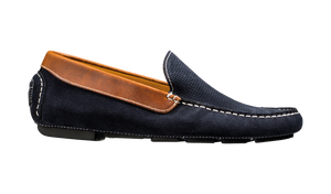 Barker Denby Driving Shoe -  Navy Suede/Brown Leather