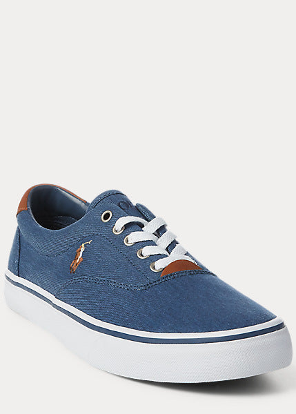 Polo Ralph Lauren-Thorton Washed Twill Trainer- Newport Navy