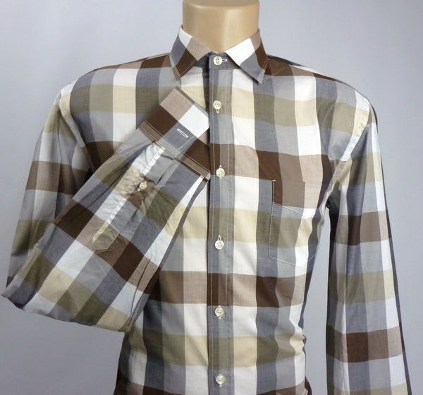 Shirts - Men - Benetton - Long Sleeve Slim Fit Checked Shirt - Brown
