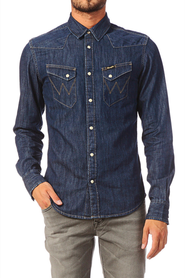 Shirts - Men - WRANGLER - CITY WESTERN SHIRT - Dark Indigo - Slim Fit