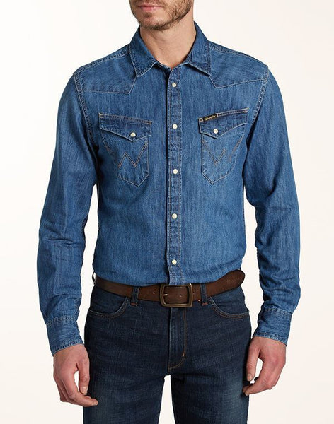 Shirts - Men - WRANGLER - CITY WESTERN SHIRT - Indigo - Slim Fit
