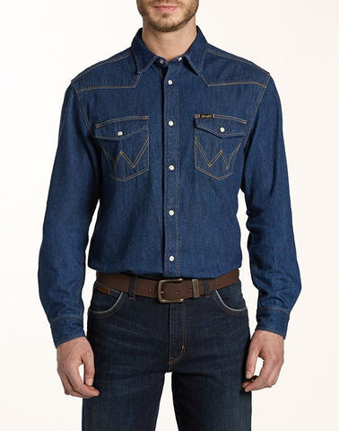 Shirts - Men - WRANGLER - CLASSIC WESTERN SHIRT - Dark Indigo - Casual Fit