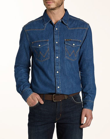 Shirts - Men - WRANGLER - CLASSIC WESTERN SHIRT - Indigo - Casual Fit