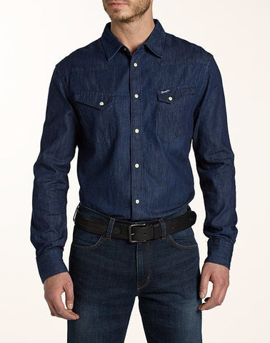Shirts - Men - WRANGLER - WESTERN SHIRT - Dark Indigo - Regular Fit